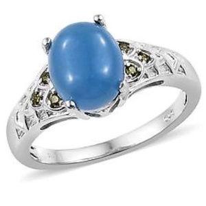 Burmese Blue Jade, Peridot CZ Ring Size 7